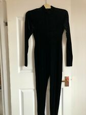 Black velvet long sleeved catsuit Adult M