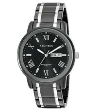 Armitron Men's 204935BKTB Day/date Function Black and Silver-tone Bracelet Watch
