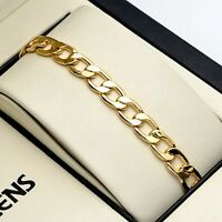 "Men's/Women's Bracelet Chain 7mm 18K Yellow Gold Filled 8"" Link Fashion Jewelry"