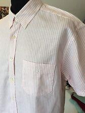 """Debenhams -Maine ~ linen/ cotton feint pink striped summer s/sleeve shirt L 42"""""""