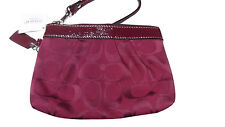 NWT COACH CRIMSON BURGUNDY MAROON SIGNATURE PLEATED WRISTLET 43434
