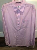 Lacoste Shirt Light Pink Long Sleeve Button Down Cotton  Size 42 Mens Large L