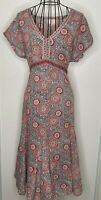 Pretty EAST ANOKHI  Floral Cotton Floaty V Neck Artisan Peasant  Dress Size 14
