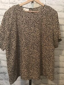 Kathie Lee Women's Abstract Floral Print Blouse Top Plus Size 20W Short Sleeve