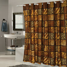 "EZ On Wild Encounter Animal Print Fabric Shower Curtain Hookless 70""x75"""