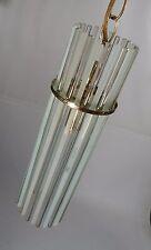 VTG LIGHTOLIER/SCIOLARI MID-CENTURY FROSTED GLASS ROD CHANDELIER BRASS RETRO