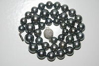 "Tahitian Pearl necklace 19""L 39 pearls (13.9-9.1mm) 87 diamonds Ball Clasp 18KWG"