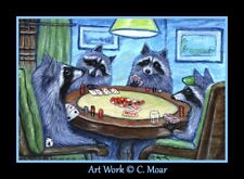 Raccoon Poker Game Cards Ace Funny ACEO Limited Edition Miniature Art Print