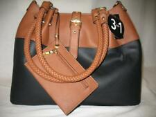 Black Rivet 3-in-1 Handbag Shoulder Bag Tote Zipper Carry-All Black + Brown NWT