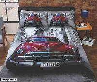Route 66 Retro Garage / Vintage Car / Mini GT / Scooter Duvet Quilt Cover Set