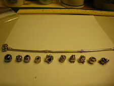 Pandora Sterling Charm Bracelet & 10 Pandora Charms 14K Queen Bee Snake Plus