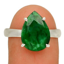 Emerald 925 Sterling Silver Jewelry Ring s.10 AR166566