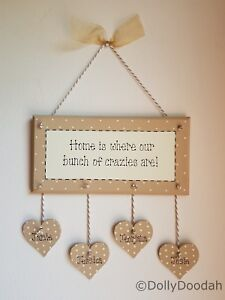 Personalised Soft Beige Crazies Family Plaque Gift Present Love Home Hearts Name