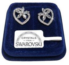Orecchini Fiori Cuore donna pl. oro bianco 18K con cristalli swarovski SWF5