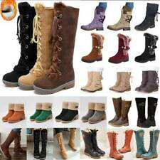 Womens Mid Calf Snow Boots Fur Warm Grip Sole Ladies Lace Up Winter Shoes Size