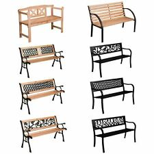 More details for garden bench 3 seater steel wooden garden seat patio seating outdoor furniture