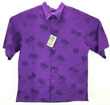 (6072) Mens Ryen Spooner Purple Hawaiian Button Up Shirt L Short Sleeve Palms