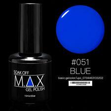 MAX 15ml Soak Off Gel Polonais Nail Art UV LED Couleur # 051 - Bleu
