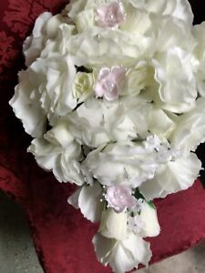 LARGE WEDDING BOUQUET IVORY  & PINK WITH BOUT OR ANY COLOR RUSH ORDER AVAILABLE