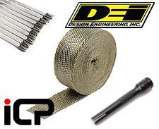 "DEI Titanium Heat Exhaust Wrap, Stainless Ties & Tool Kit 2""x50FT Roll"