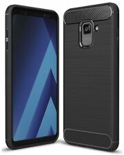 For Samsung Galaxy A8 Carbon Fibre Gel Case Cover Shockproof & Stylus Pen