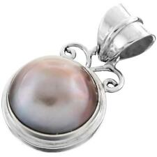 "11/16"" EXQUISITE CHAMPAGNE MABE PEARL 925 STERLING SILVER pendant"