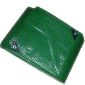 HEAVY MEDIUM DUTY GREEN REINFORCED TARPAULIN  10M x 4M  - LARGE