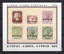 CYPRUS 1980 CYPRUS STAMP CENTENARY-MINIATURE SHEET MNH
