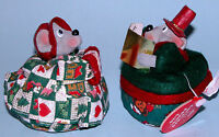 Russ Berrie Kathleen Kelly mice couple #2948 set caroling Christmas fabric/resin