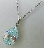 New!Diamonique 12ct of simulated diamond teardrop sterling silver necklace,QVC