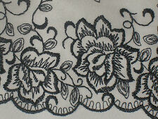 """2 yards 7 1/2"""" width French lace in black and clear color w/ embroidery floral"""