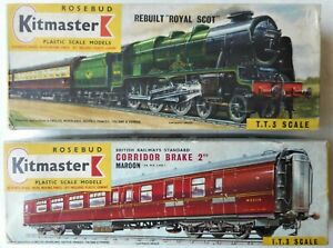 Rebuilt Royal Scot Locomotive + Maroon Corridor Brake. Rosebud Kitmaster Models.