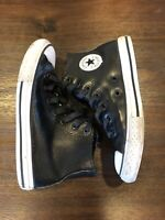 Converse Chuck Taylor All Star Black Leather Youth Hi Top Sneakers Size 2