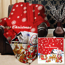 CHRISTMAS SANTAS SLEIGH DESIGN 2 RED SOFT PICNIC THROW BLANKET BED COVER GIFT