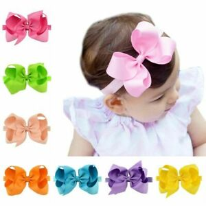 Infant Big Hair Bow Kids Grosgrain Ribbon Bow Tie Safety Bowknot Girls Barrettes