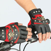 Men Women PU Leather Skull Punk Driving Motorcycle Biker  Fingerless Gloves