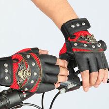 Men Women PU Leather Skull Punk Driving Motorcycle Biker Fingerless Gloves Sale
