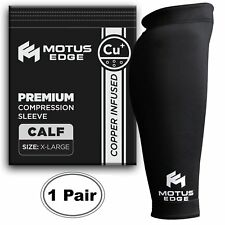 Motus Edge Copper Infused Calf Compression Sleeve for Shin/Leg Support 2-pack XL