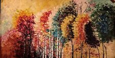 Abstract acrylic Oil on canvas,hand painted, Palette Knife Large and Colourful.
