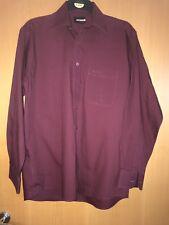 "Pierre cardin Cotton Shirt Mens 16"" Or 41 Cm full Sleeves Maroon"