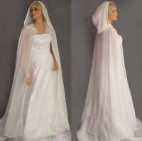 White/Ivory Women Shawl Chiffon Wedding Cloak Long Hooded Bridal Capes Jackets