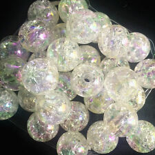10pcs White Crackle Glass Round 12mm Beads Jewelry Findings Craft Bead Supply