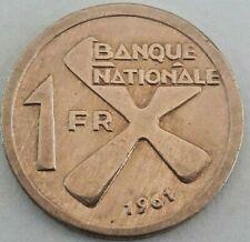 1 Franc~Banana Bunch~1st Year Ever Minted~Large Katanga 1961 Km#1