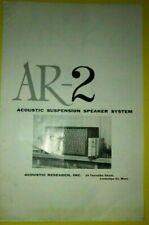 AR-2 Acoustic Research Speaker Owner Manual - Original