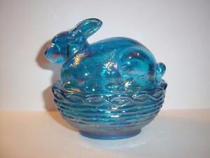 Mosser Glass Colonial Blue Carnival Easter Bunny Rabbit Basket Box Candy Dish