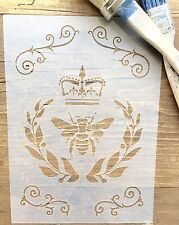 Bee & Crown Stencil, French Damask Stencil, Scroll Stencil, Furniture Stencil