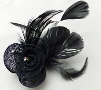 NET ROSEBUD & FEATHER FASCINATOR ON A FORKED CLIP & BROOCH PIN - VARIOUS COLOURS