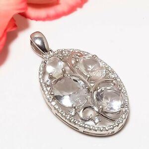 "White Topaz & Cz 925 Silver Rhodium Plated Designer Pendant Jewelry 1.37"" T2955"