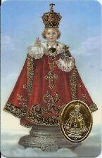Image pieuse plastifiée poinçon style médaille prière Divin Enfant Jésus Prague