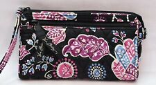 Vera Bradley Wristlet Wallet Black Pink Purple Paisley Zip Top
